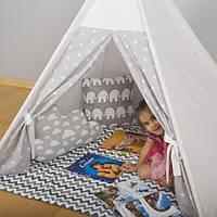 Палатка - Вигвам в серо-белую звездочку