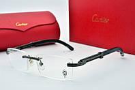 Мужская прямоугольная оправа Cartier в темной стали и деревянной дужкой