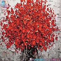 Картина раскраска по номерам Красные цветы 50х40см с подрамником