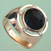 Золотий перстень  з  діамантом та гранатом