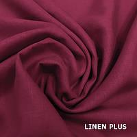 Гранатовая льняная ткань 100% лен, цвет 688