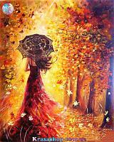 Картина раскраска по номерам Красавица в осеннем лесу 50х40см с подрамником