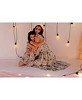Одинаковые платья для мамы и дочки бабочки зеленое ТМ Прованс Vona