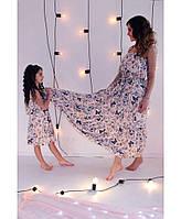 Одинаковые платья мама дочка бабочки бежевое ТМ Прованс Vona