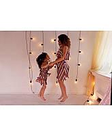 Платья для мамы и дочки полоски цветные ТМ Прованс Vona