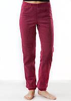 Теплые мягкие зимние женские флисовые штаны бордового цвета