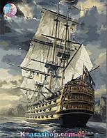 Картина раскраска по номерам Фрегат 50х40см с подрамником