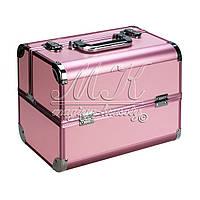 """Чемодан для визажиста алюминиевый """"Matte Series"""",св.розовый с розовым ободком"""