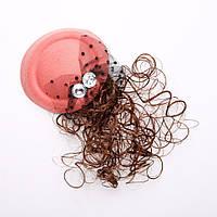 Заколка детская Шляпка розовая с шиньоном d-13см