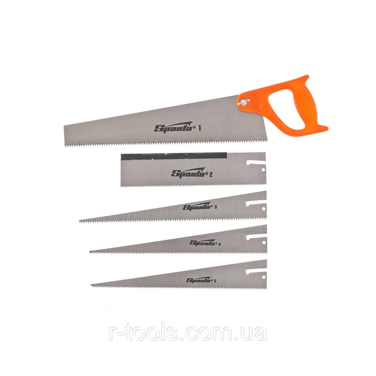 Ножовка по дереву 350 мм 5 сменных полотен пластиковая рукоятка SPARTA 231255