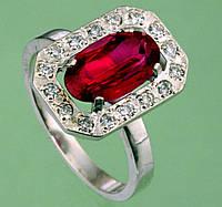 Срібний перстень з корундом та цирконом