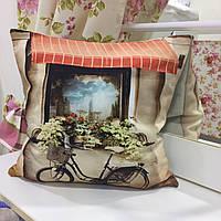 "Декоративная подушка 45х45 ""Магазин"": съемная наволочка, наполнитель холлофайбер"