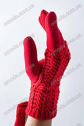 Женские кашемировые перчатки с вязкой красные