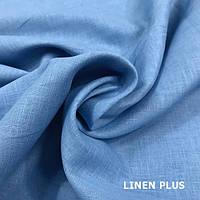 Голубая льняная ткань 100% лен, цвет 757
