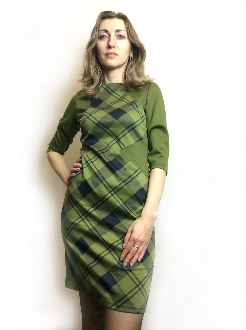 Оливковое платье комби П175