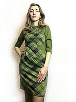 Оливковое платье комби П175, фото 1
