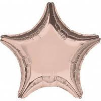 """Звезда фольгированная 18""""(45 см) розовое золото металлик"""