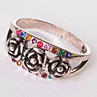 Кольцо Плетистая роза в разноцветных стразах 17,18,19