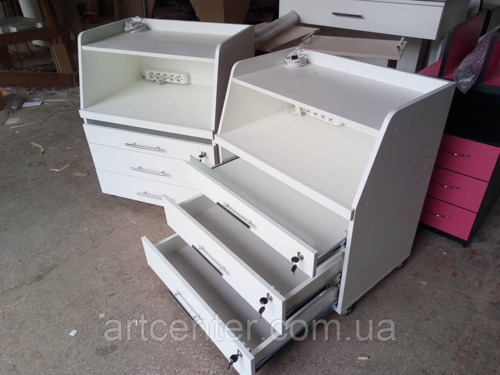 Тумба косметологическая с выдвижными ящиками и открытой полкой