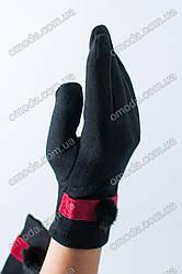 Кашемировые женские перчатки (черные с красной лентой)