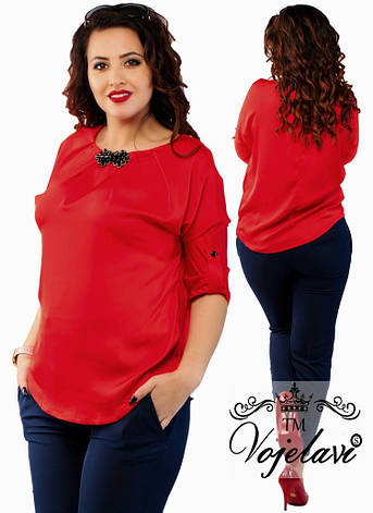 Женская блуза из шелка + украшение 48-54р.цвет КРАСНЫЙ,БЕЛЫЙ, фото 2