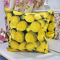 "Декоративная подушка 45х45 ""Лимон"": съемная наволочка, наполнитель холлофайбер"