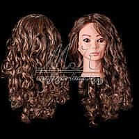 Голова-манекен для причесок, укладок и плетения, PROFI №108, 80% натуральный волос, шатенка