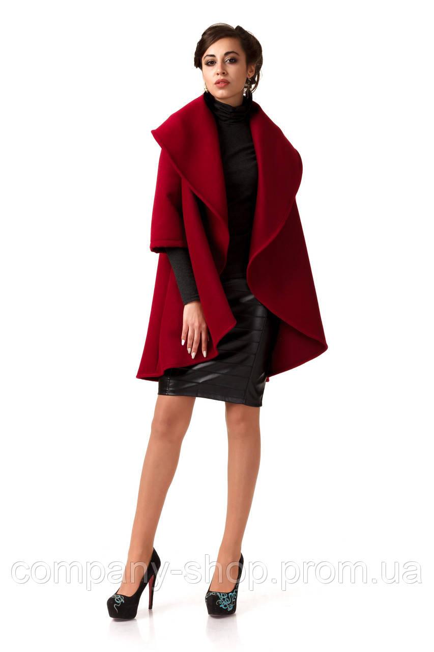 Манто кашемировое женское. Модель ПЛ001_бордовый.