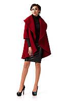 Манто кашемировое женское. Модель ПЛ001_бордовый., фото 1