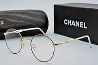 Оправа женская круглая для очков Chanel в черно золотом цвете