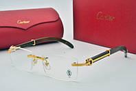 Оправа Cartier мужская с золотом и деревянным заушником