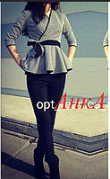 Костюм брюки узкие и баска, расцветки, фото 1