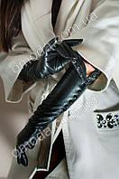 Кожаные женские перчатки длинные (на кнопках)
