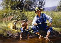 На рыбалке с дедом.