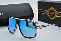 Женские солнцезащитные очки квадратные Dita черно голубые