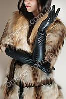 Кожаные женские перчатки длинные (с пуговицами)
