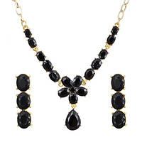 Комплект Кристалл Цветочек черный /серьги и колье/бижутерия/цвет золото, черный