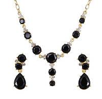 Комплект Кристалл Капля черный /серьги и колье/бижутерия/цвет золото, черный