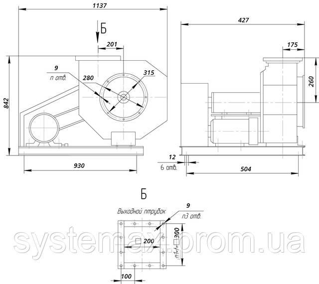 ВЦП 6-46 4 (ВРП 120-46 4) габаритные и присоединительные характеристики чертеж