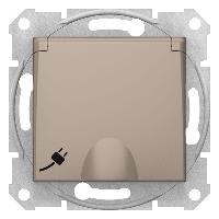 Розетка с з/к и шторками и крышкой титан  Sedna(Седна) Schneider electric (Шнайдер электрик)