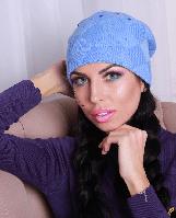 Женская теплая шапка Квадрат