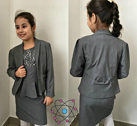 Пиджак подростковый с бантом 140.146.152см, фото 2