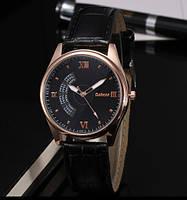 Мужские часы на кожаном ремешке Dobroa черный циферблат