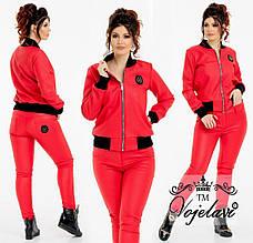 Стильная куртка кожа стёганая + ребана+ подкладка, красный