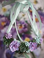 """""""Суккуленты"""" авторское колье с цветами ручной работы. Подарок девушке,женщине, фото 1"""