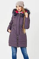 Удлиненная дутая куртка женская BIRD 42–50р.лиловый