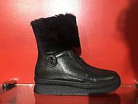 Зимние ботинки с натуральной кожи чёрного цвета внутри цигейка
