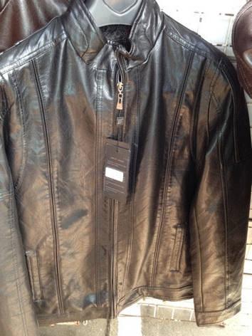 Модная мужская куртка из Эко кожи черная, фото 2