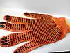 Перчатки ХБ оранжевые ПВХ точка