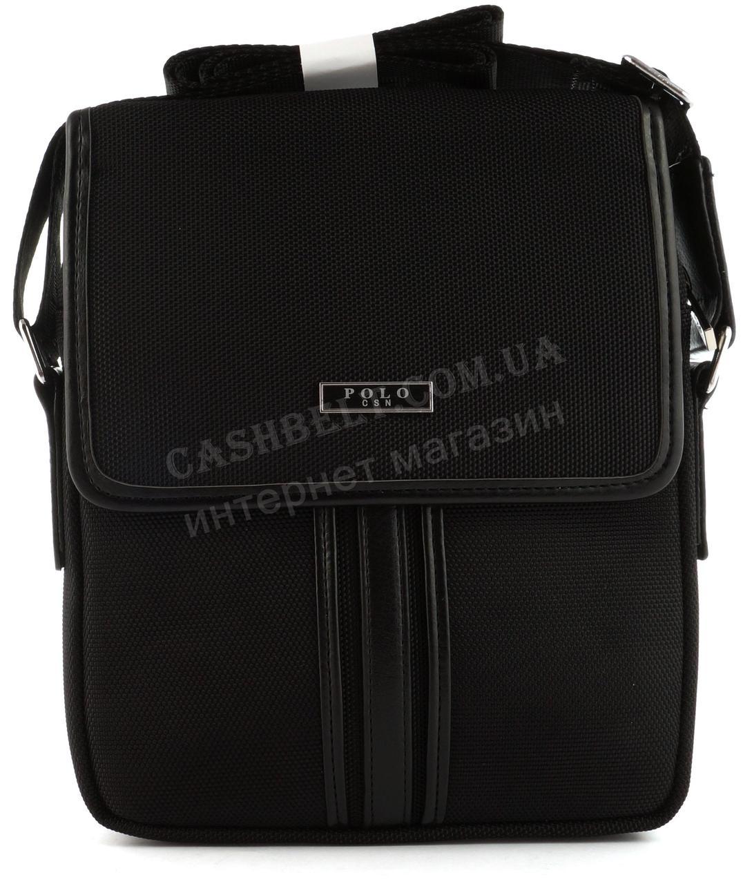 Дуже міцна тканинна чоловіча невелика наплічна сумка POLO art. 669-3 чорна
